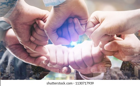 Double exposure surreal image of joining hands. Concept of adapt and change of business.