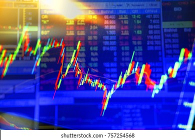 Double exposure. Technical candle stick chart with moving average indicator, price falling, market volatility Stock analysis data on computer screen Business investment, oil, currency future market