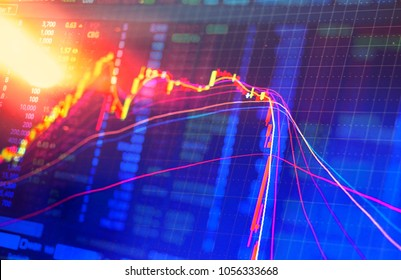 Double exposure Technical candlestick price chart showing up and down trend, volatility, panic sell, red selling stock ticker trading data on computer screen background  Financial business concept