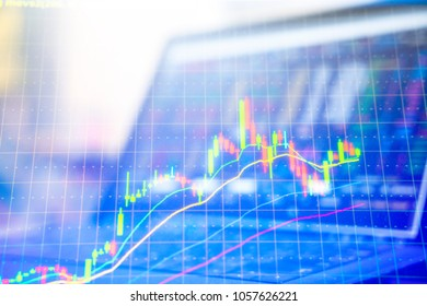 Double exposure Technical price graph and indicator, red and green candlestick chart and stock trading computer screen background Market volatility, up and down trend Crypto currency theme background