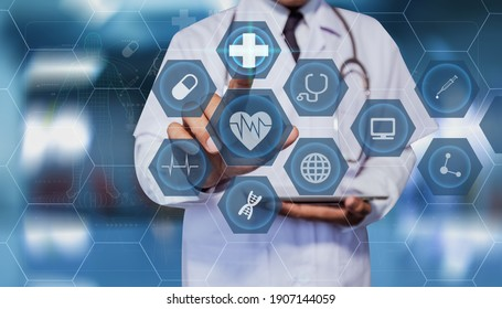 Double exposure of technology healthcare And Medicine concept. Doctor using digital tablet and modern virtual screen interface icons panoramic banner, blurred background.