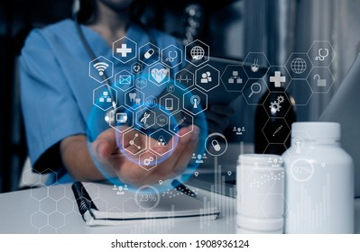 Double exposure of technology healthcare And Medicine concept. Doctors using digital tablet and modern virtual screen interface icons panoramic banner, blurred background.