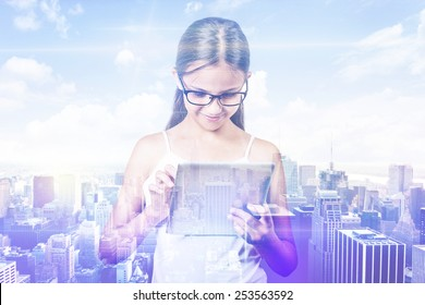 Double exposure teenager girl and city. Young student using digital tablet with city skyline skyscraper view background. Modern new technology communication concept
