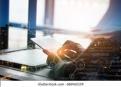 double exposure telecommunication device network