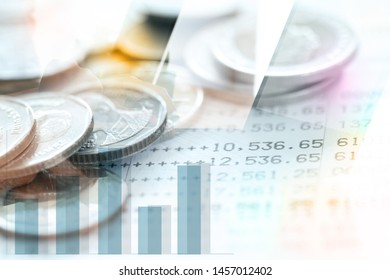 Double exposure of Thai's coins stacked over page of Bank account statement with Business activity image.Business and  Collecting money concept