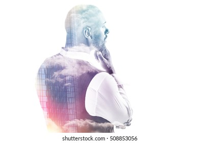 Double exposure of thoughtful businessman holding his chin  isolated on white