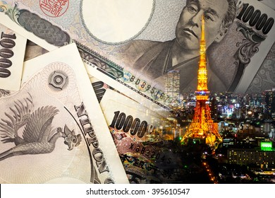 Double exposure of TOKYO TOWER , note bank , yen note, japan money concept