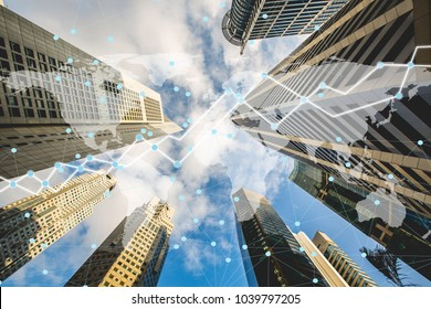 Double exposure trading graph with connection business network on smart city background. element of this image furnished by NASA