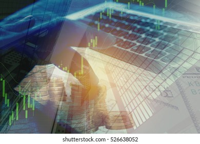 double exposure trading graph on computer and money background. online investment concept