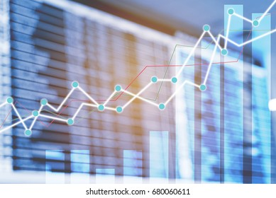 Double exposure trading growth graph on business and investment background