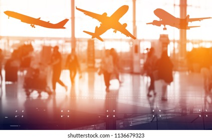 Double exposure travel Destination Business Trip Concept.