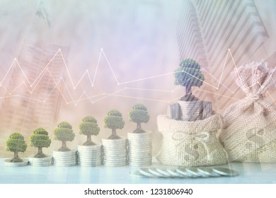 Double exposure of Trees growing on coins money with money bag and graph on city background, investment and business concept