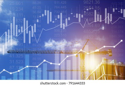 Double exposure of UK Stock graphic background on financial market trade chart, finance and banking concept. Mixed media