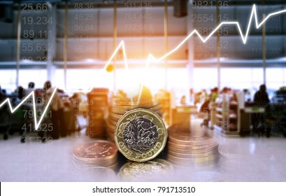 Double exposure of UK Stock graphic with supermarket background on financial market trade chart, finance and banking concept. Mixed media