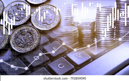 Double exposure of UK Stock graphic with keyboard new pound coin background on financial market trade chart, finance and banking concept. Mixed media.