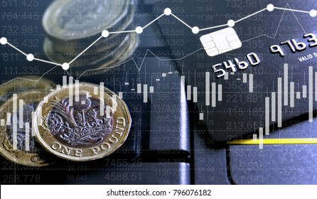 Double exposure of UK Stock graphic with credit card and new pound coin background on financial market trade chart, finance and banking concept. Mixed media.