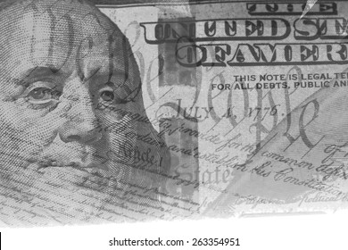 Double exposure US constitution We the People and one hundred dollar bill - Finance and government concept