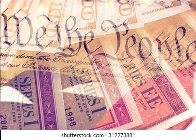 Double exposure US constitution We the People, American flag and treasury savings bond - Finance and government concept