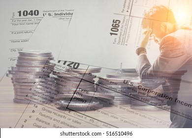 Double exposure of US tax form and coins with stress businessman for business taxation and finance concept