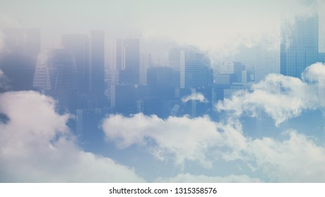 double exposure of view city and sky clouds for business, future and technology concept background