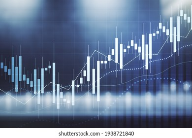 Double exposure of virtual creative financial diagram on contemporary business center exterior background, banking and accounting concept
