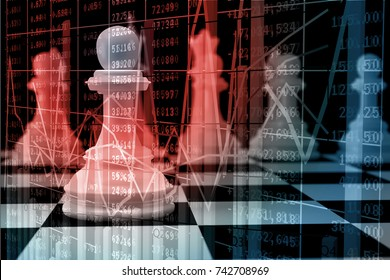 Double Exposure of White Chess on Chessboard with Bar and Line Graph over Stock Market Price Data Display as Concept of Investment Strategic Risk Management or Marketing Strategy.