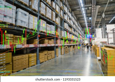 Double exposure of wholesale stock inventory shelf, modern logistics smart warehouse and technical price chart. For wholesale distributor, commercial business or supply chain background concept.