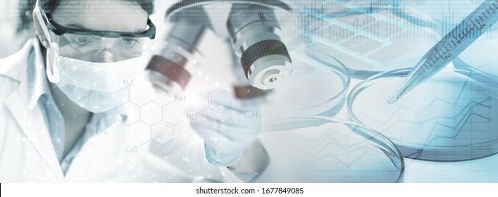 Doppelexposition von Chemikerinnen und Laborgeräten