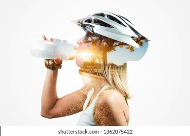 Double exposure woman cyclist. Combined with a nature. Concept Healthy lifestyle in the nature.