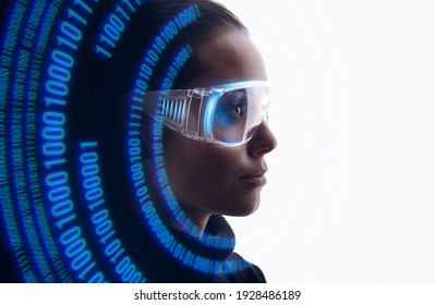 Double exposure of woman face and futuristic holographic interface to display data. Female using VR helmet. Augmented reality, future technology, game concept. White background.