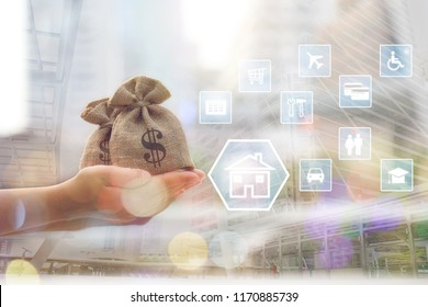 Double exposure of Woman hand holding coins money in bag with hologram on city background, Saving money for prepare in future and investment concept