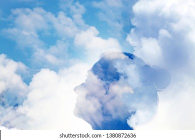 double exposure of woman head and sky -  mindfulness, meditation, mental health, depression