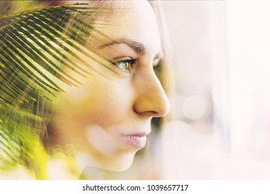 double exposure woman and palm leaf ,travel , vacation , spa or cosmetics advertising concept