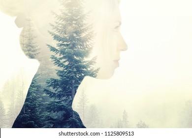 Double exposure woman portrait