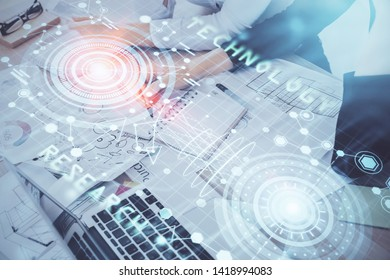Double exposure of woman's writing hand on background with data technology hud. Big data concept.