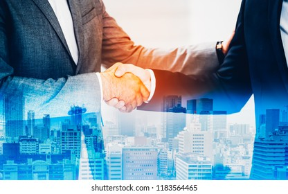 Double exposure worker hand shake teamwork brainstorming with innovation business. concept success investment.Business People Handshake Greeting Deal Concept.