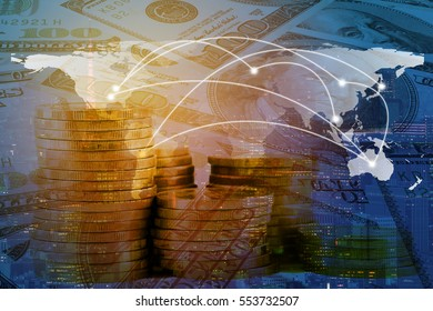 Double exposure world global map and network line on money and coin and city background. Elements of this image furnished by NASA