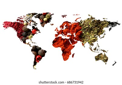 Double exposure of world map and different spices on white background. Logistic and wholesale concept