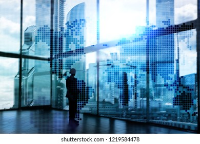Double exposure world map. Global business and financial market concept.