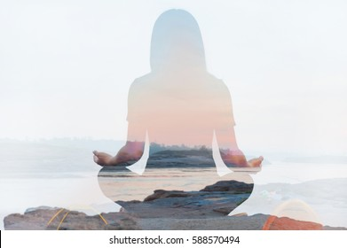 Double exposure of yoga pose landscape