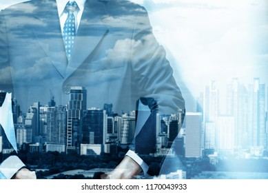 Double exposure of young business man and digital number of stock market background to represent successful in investment marketing. Find out the best solution in business and financial as concept.