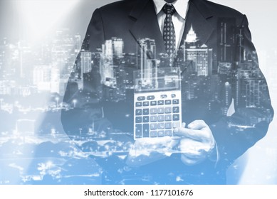 Double exposure of young business man to represent successful in investment marketing. Find out the best solution in business and financial as concept.