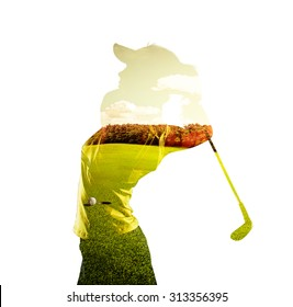 Double exposure of young female golf player holding club combined with green field and sky. Golfing concept.