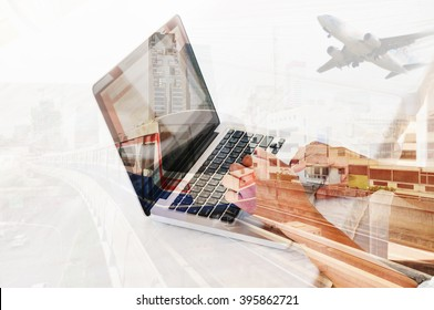 Double Exposure of Young Man use Notebook or Laptop Computer with Metro Train and Airplane as Business Transportation concept