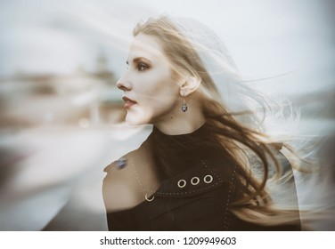 Double exposure of young woman. Abstract portrait.