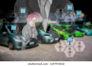 Double exposure-businessman touch hologram button, For online shopping and Auction, select car in online market, with concept of convenience in Trading and Auction cars through internet of customers.
