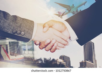 Double exposure,Businessmen are handshake agree to join the business.