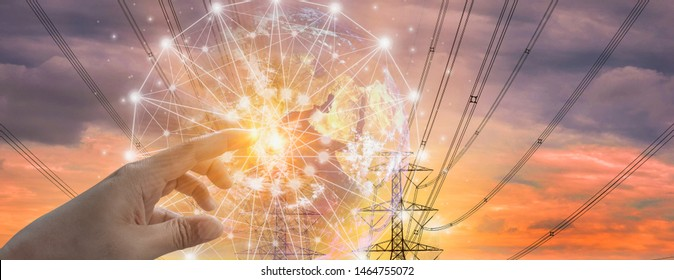 Double exposure-electric pole,colorful sky stock chart background,finger touch world,concept volatility of stock,energy businesses in global market,banner panoramic horizontal,image furnished by NASA