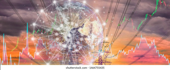 Double exposure-electric pole,colorful sky stock chart background,concept volatility of stock and energy businesses in global market,and banner panoramic horizontal,elements of image furnished by NASA