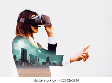 Double exposure-Future VR headsets,women business in suits using fingers experience best technology modern innovations,isolated white background,concept virtual worlds simulating new imaginations
